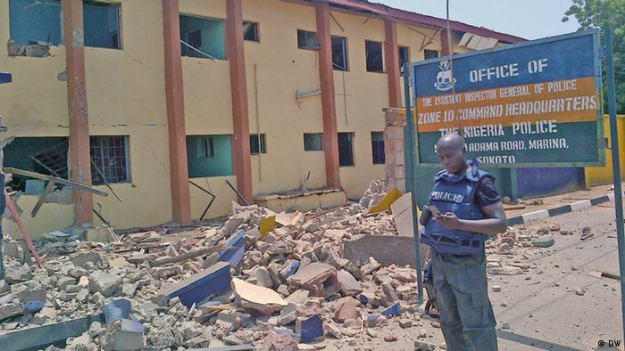 Aftermath of Boko Haram bomb attack on police headquarters in Sokoto, Nigeria.