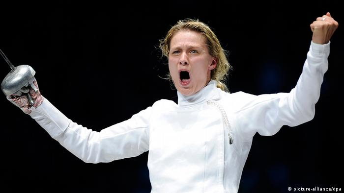 Germany's Britta Heidemann reacts during her competition with South Korea's Shin at the Women's Individual Epee event in ExCeL at the London 2012 Olympic Games, London, Great Britain, 30. July 2012. Photo: Marius Becker dpa