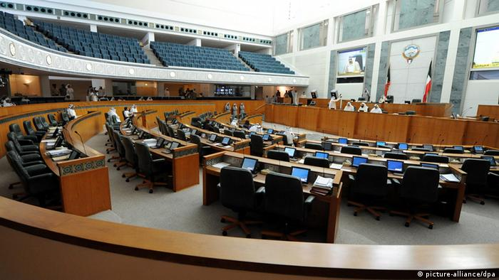 A general view of the nearly empty Kuwaiti Parliament during a session in Kuwait City, Kuwait, 31 July 2012. Media reports state that Parliament session was postponed to 07 August 2012 after opposition members boycotted it. The session was expected to witness the swearing-in of the new government. The Parliament was reinstated in June by a Constitutional Court decision. EPA/RAED QUTENA