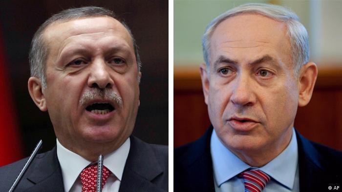 Turkish Prime Minister Recep Tayyip Erdogan and Irsaeli Prime Minister Benjamin Netanyahu