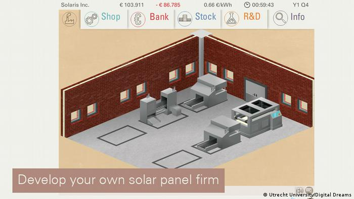 Screenshot of the serious game, Solar Tycoon, Utrecht University