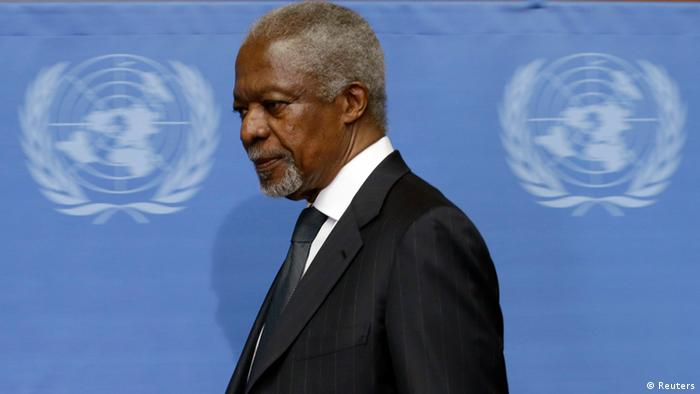 U.N.-Arab League mediator Kofi Annan arrives for a news conference at the United Nations in Geneva August 2, 2012. Former U.N. Secretary-General Annan is stepping down as the U.N.-Arab League mediator in the 17-month-old Syria conflict at the end of the month, U.N. chief Ban Ki-moon said in a statement on Thursday. REUTERS/Denis Balibouse (SWITZERLAND - Tags: POLITICS CIVIL UNREST CONFLICT)