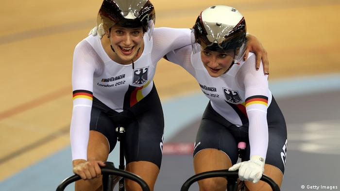 Kristina Vogel (left) and Miriam Welte of Germany congratulate each other after the Women's Sprint Track Cycling final on Day 6 of the London 2012 Olympic Games at Velodrome on August 2, 2012 in London
