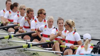 Germany's, from right, Laura Schwensen, Costanze Siering, Kathrin Marchand, Nadja Drygalla, Ulrike Sennewald, Katrin Thiem, Daniela Schultze, Julia Lepke, and Ronja Schett prior to the start of women's rowing eight repechage in Eton Dorney, near Windsor, England, at the 2012 Summer Olympics, Tuesday, July 31, 2012. They finished last and failed to qualify to the final. (Foto:Armando Franca/AP/dapd)