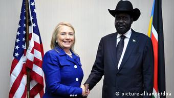 South Sudanese President Salva Kiir greets US Secretary of State Hillary Clinton in Juba