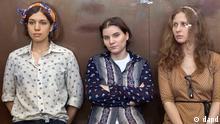 Russland Prozess gegen Pussy Riot in Moskau Jekaterina Samuzewitsch, Nadeschda Tolokonnikowa und Maria Aljochina