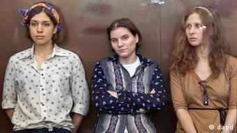 Pussy Riot members, from left, Nadezhda Tolokonnikova, Yekaterina Samutsevich and Maria Alekhina (Source: Misha Japaridze/AP/dapd)
