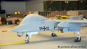 One of the Bundeswehr's rented Heron drones, pictured 23.06.2011 at Camp Marmal in Afghanistan.