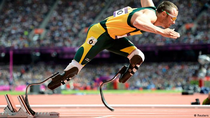 South Africa's Oscar Pistorius starts his men's 400m round 1 heats at the London 2012 Olympic Games at the Olympic Stadium August 4, 2012. REUTERS/Dylan Martinez (BRITAIN - Tags: OLYMPICS SPORT ATHLETICS TPX IMAGES OF THE DAY)