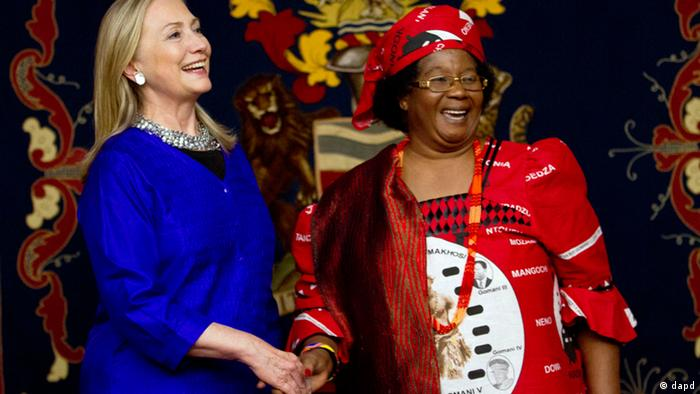 U.S. Secretary of State Hillary Clinton with President Joyce Banda in Malawi Picture: Jacquelyn Martin AP