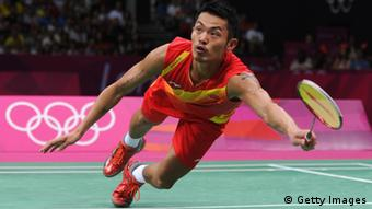Lin Dan of China competes in his Men's Singles Badminton Gold Medal match against Chong Wei Lee of Malaysia on Day 9 of the London 2012 Olympic Games at Wembley Arena on August 5, 2012 in London, England.