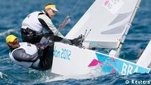 Bruno Prada and Robert Scheidt of Brazil sail in Star class during the first race at the London 2012 Olympic Games in Weymouth and Portland, southern England, July 29, 2012. REUTERS/Pascal Lauener (BRITAIN - Tags: SPORT YACHTING OLYMPICS)