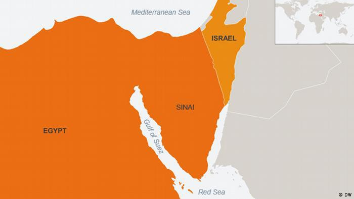 Map of Egypt, Israel, Sinai Peninsula