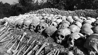 Skulls are seen in Phnom Penh in this April 17, 1981 photo. The authorities say the victims were tied together by rope - seen in this photograph - before being executed by followers of Premier Pol Pot who was ousted from Power in early 1979. (ddp images/AP Photo/D. Gray,)