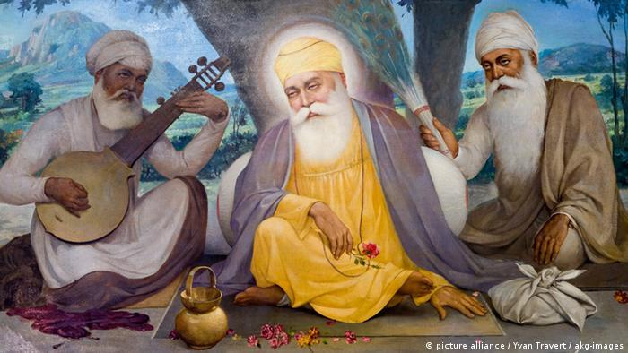 Guru Nanak mit Gefährten Gemälde (picture alliance / Yvan Travert / akg-images)