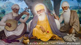 Guru Nanak mit Gefährten Gemälde