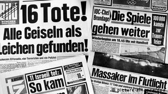 A selection of German front page headlines after the Munich hostage drama at the 1972 Summer Olympics