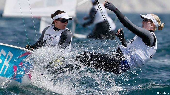 Germany's Friederike Belcher and Kathrin Kadelbach sail during the first race of the women's 470 sailing class at the London 2012 Olympic Games in Weymouth and Portland, southern England, August 3, 2012.