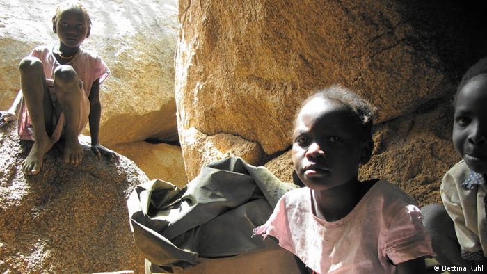 Children in the caves of Tonole in the Nuba mountains, Sudan. Picture: Bettina Rühl