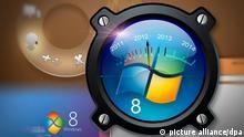 ARCHIV - Die Computersimulation vom 28.04.2011 zeigt auf einer Anzeige die ungefähre Einführung des Betriebssystems Windows 8. Microsoft will die Negativ-Schlagzeilen der vergangenen Wochen und Monate hinter sich lassen und mit einem runderneuerten Betriebssystem die Begeisterung der Anwender für den Personal Computer wiederbeleben. Auf der Technologie-Konferenz «D9 - All Things D» stellte der weltgrößte Softwarekonzern eine frühe Testversion von «Windows 8» vor, das auf Tablet Computern und auch auf herkömmlichen PCs laufen wird. Photoillustration: Simon Chavez dpa (zu dpa 0160 vom 02.06.2011). +++(c) dpa - Bildfunk+++