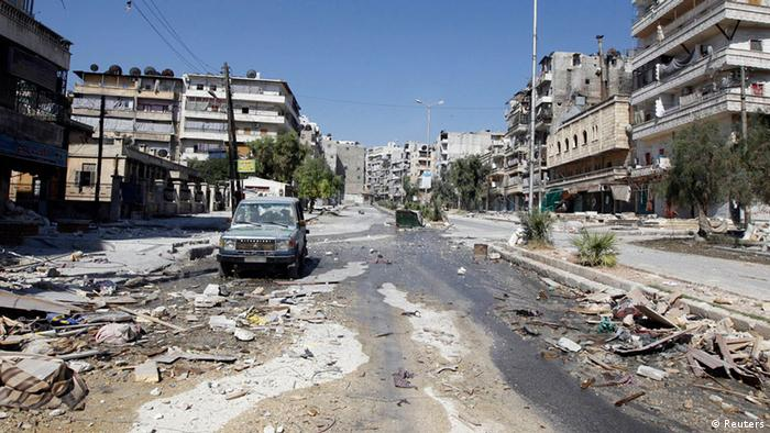 Source News Feed: EMEA Picture Service ,Germany Picture Service An empty street is pictured in Salah al- Din neighborhood following clashes between the Free Syrian Army fighters and Syrian Army soldiers in central Aleppo, August 8, 2012. REUTERS/Goran Tomasevic (SYRIA - Tags: CIVIL UNREST)
