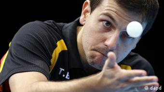 Timo Boll of Germany competes against Leung Chu Yan of Hong Kong in the men's team table tennis bronze medal match at the 2012 Summer Olympics, Wednesday, Aug. 8, 2012, in London. (Foto:Sergei Grits/AP/dapd)