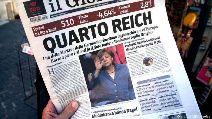 Italian newspaper 'Il Giornale' last August, screaming the 'Fourth Reich' Copyright: Karl-Josef Hildenbrand/dpa