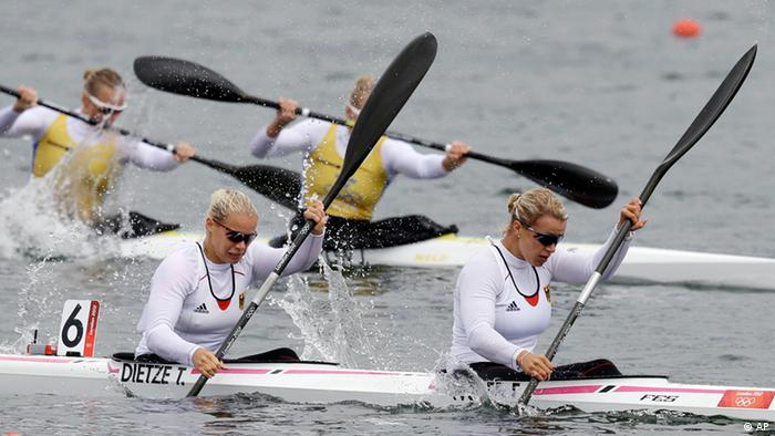 Germany's Franziska Weber and Tina Dietze compete in the women's kayak double (K2) 500m semifinal at the Eton Dorney during the London 2012 Olympic Games August 7, 2012.
