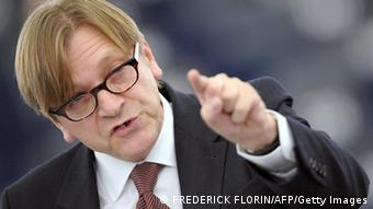 Guy Verhofstadt reacts during a debate on the 2011 EU budget, (Photo credit should read FREDERICK FLORIN/AFP/Getty Images)