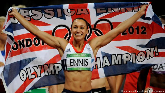 Jessica Ennis of Great Britain celebrates winning the Women's Heptathlon; 04 August 2012. Photo: Joe Toth / BPI
