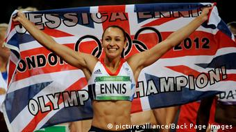 London 2012 - Day Nine 04 August 2012. Jessica Ennis of Great Britain celebrates winning the Women's Heptathlon in the Olympic Stadium as part of the 2012 London Olympic Games - London, UK - 04 August 2012. Photo: Joe Toth / BPI pixel