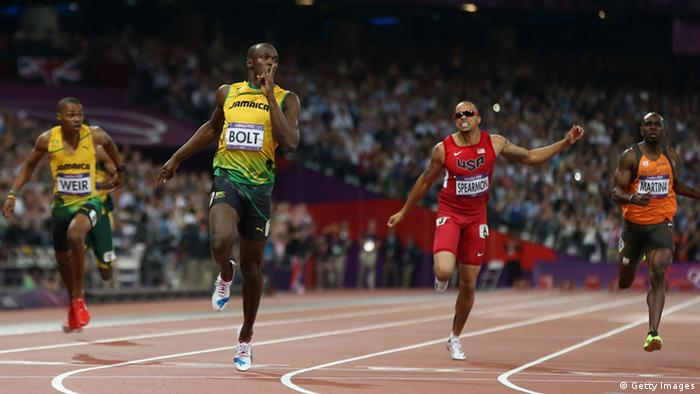 LONDON, ENGLAND - AUGUST 09: Usain Bolt of Jamaica crosses the finish line to win gold during the Men's 200m Final on Day 13 of the London 2012 Olympic Games at Olympic Stadium on August 9, 2012 in London, England. (Photo by Streeter Lecka/Getty Images)