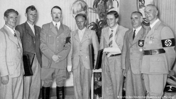 Eiger North Face mountaineers with Hitler. From left: Anderl Heckmair, Heinrich Harrer, Adolf Hitler, Fritz Kasparek, Ludwig Vörg Reichsportführer von Tschamer und Osten und Reichsinnenminister Frick