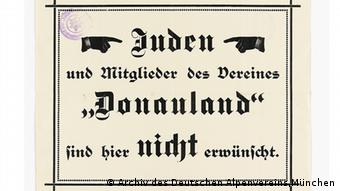 Alpine Association sign sys Jews are not wanted Source: Alpenverein; Antisemitisches Plakat Um 1925