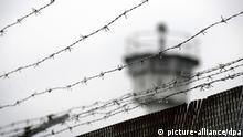 Stacheldraht hängt am Montag (09.11.2009) auf dem Gelände des deutsch-deutschen Museums im ehemals geteilten Dorf Mödlareuth nahe Hof auf einem Zaun vor einem Wachturm. Foto: David Ebener dpa +++(c) dpa - Report+++