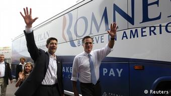 Republican U.S. presidential candidate Mitt Romney and U.S. Congressman Paul Ryan (R-WI) walk with Ryan's daughter Liza to the Romney campaign bus after Ryan was introduced as the vice-presidential running mate during a campaign event at the battleship USS Wisconsin in Norfolk, Virginia August 11, 2012. REUTERS/Shannon Stapleton (UNITED STATES - Tags: POLITICS ELECTIONS)