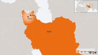 Map of Iran showing extent of quake