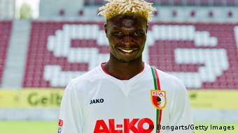 AUGSBURG, GERMANY - JULY 26: Aristide Bance poses during the FC Augsburg team presentation at the SGL Arena on July 26, 2012 in Augsburg, Germany. (Photo by Thomas Langer/Bongarts/Getty Images)