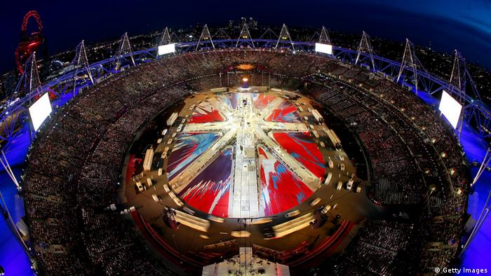 LONDON, ENGLAND - AUGUST 12: A general view of the stadium as a Union Jack is formed during the Closing Ceremony on Day 16 of the London 2012 Olympic Games at Olympic Stadium on August 12, 2012 in London, England. (Photo by Rob Carr/Getty Images)
