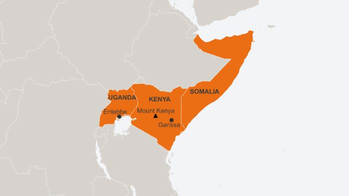 A map showing Uganda, Kenya and Somalia