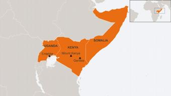 Map of Somalia, Kenya and Uganda in English