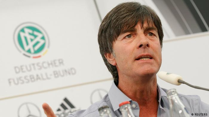 German national soccer coach Joachim Loew addresses a news conference in Frankfurt, August 13, 2012. Germany will face Argentina in a friendly soccer match in Frankfurt on Wednesday. REUTERS/Alex Domanski (GERMANY - Tags: SPORT SOCCER)