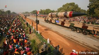 An Agni III nuclear capable missile is paraded during the Republic Day Parade (Photo: Daniel Berehulak/Getty Images)
