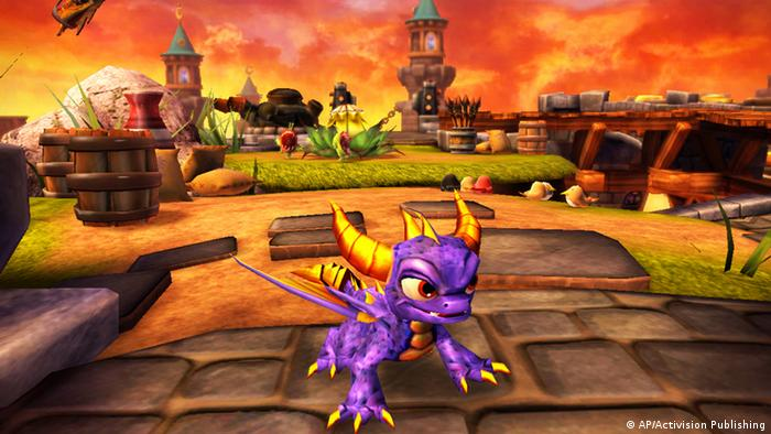 This product image provided by Activision Publishing, shows a scene from the video Skylanders: Spyro's Adventure. Spyro, the fire-breathing purple dragon, appears in a new video game from Activision Blizzard Inc., Skylanders: Spyro's Adventure. Although the character has been around since the late 1990s, Activision is trying to breathe fire into the series by combining it with real-life toys. (AP Photo/Activision Publishing)