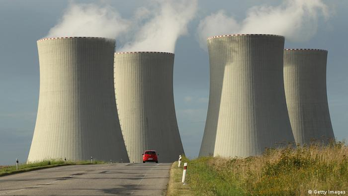 The four cooling towers at the Temelin nuclear power plant