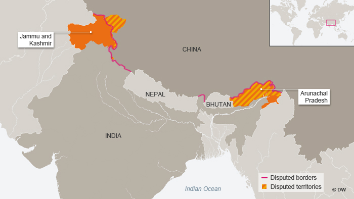 Map India China disputed borders