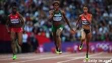 LONDON, ENGLAND - AUGUST 03: (L-R) Tianna Madison of the United States, Blessing Okagbare of Nigeria and Tatjana Pinto of Germany compete in the Women's 100m Round 1 Heats on Day 7 of the London 2012 Olympic Games at Olympic Stadium on August 3, 2012 in London, England. (Photo by Stu Forster/Getty Images)