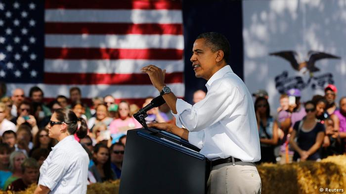 Source News Feed: EMEA Picture Service ,Germany Picture Service U.S. President Barack Obama speaks during a campaign event at the Nelson Pioneer Farm and Museum in Oskaloosa, Iowa, August 14, 2012. REUTERS/Larry Downing (UNITED STATES - Tags: POLITICS ELECTIONS)