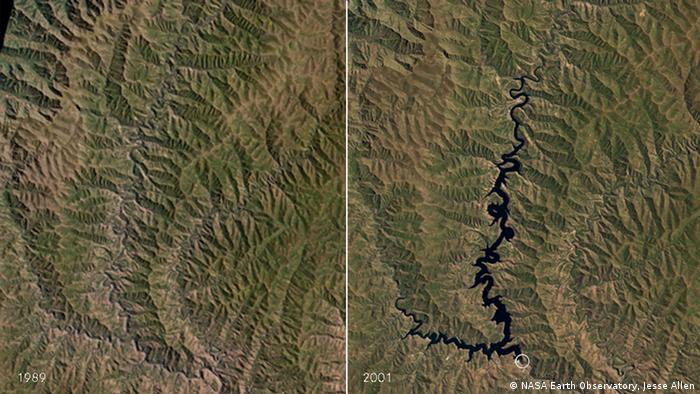 Two aerial photographs of the area where the Katse dam construction flooded several valleys. Left is a picture before the flooding, right is the picture afterwards.