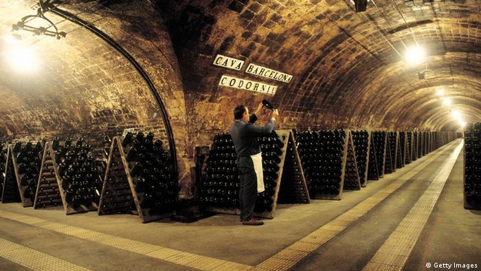 A man turning the bottles in the Cellars of Codorniu champagne company in San Sadurni d´ Noia (Photo by Pepe Franco/Cover/Getty Images)